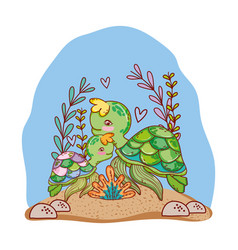 Turtle family animals with seaweed plants vector