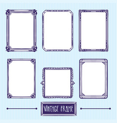 vintage frame hand drawing elements vector image