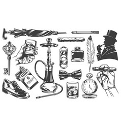 Vintage gentleman elements set vector