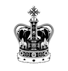 vintage monochrome highly detailed crown vector image