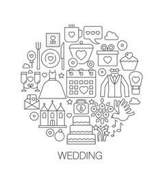 wedding in circle - concept line vector image