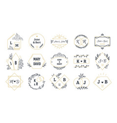 wedding logos bohemian monograms for event vector image