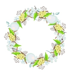 Winter floral bouquet wreath vector