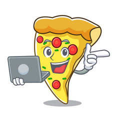 With laptop pizza slice character cartoon vector