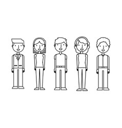 Young people group avatars vector
