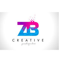 Zb z b letter logo with shattered broken blue vector