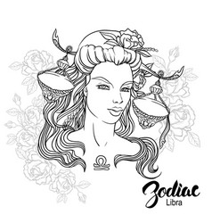 Zodiac of libra as girl with vector