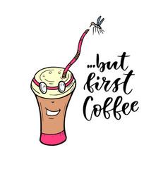 cartoon character coffee mug modern lettering - vector image vector image