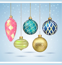 christmas balls ornaments hanging on gold thread vector image