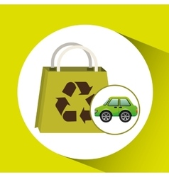 eco car bag shop icon environment vector image