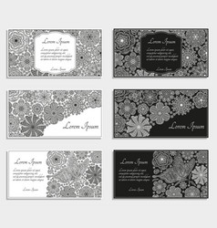 greeting cards or templates with stylized flowers vector image