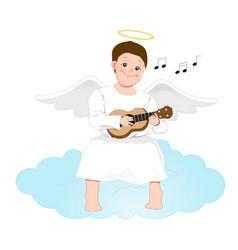 happy angel man playing the guitar cartoon vector image vector image