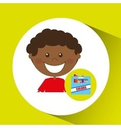 happy boy student color box graphic vector image