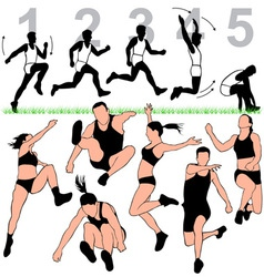 long jump silhouettes set vector image