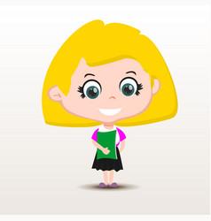 schoolgirl with book vector image vector image
