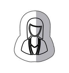 sticker monochrome half body silhouette woman vector image