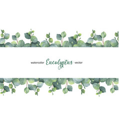 Watercolor green floral banner with silver vector