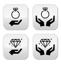 Diamond engagement ring with hands buttons vector image vector image