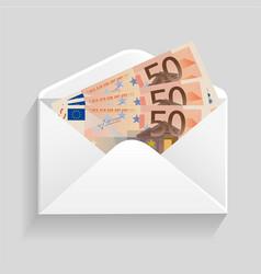 Open envelope and 50 euro bills cash vector
