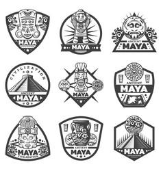 vintage monochrome maya labels set vector image