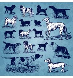 dogs vintage set vector image vector image