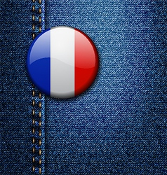 France Bright Colorful Badge on Denim Fabric Textu vector image vector image