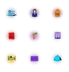 Hotel accommodation icons set pop-art style vector image vector image