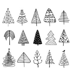 set of doodle christmas trees vector image vector image