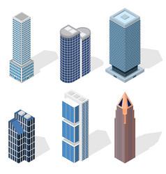 skyscraper building set isometric view vector image vector image