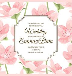 blooming pink sakura magnolia invitation card vector image vector image