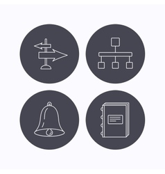 Book hierarchy and direction arrows icons vector image