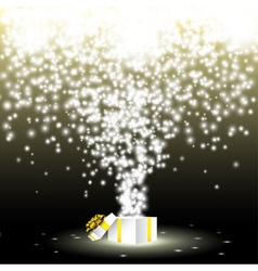 gift box with fireworks from lights vector image vector image