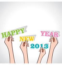 happy new year 2013 in hand vector image vector image