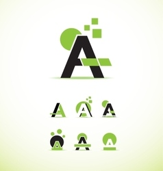 Letter A logo icon set vector image vector image