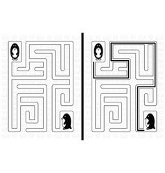 Penguin maze vector image vector image