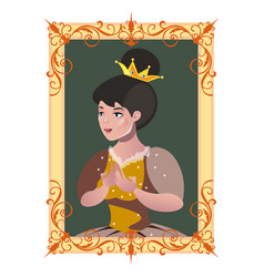 portrait of a princess in a frame vector image vector image