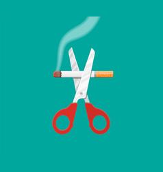 scissors cut a cigarettes vector image