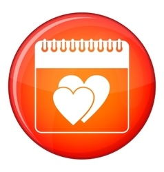 Wedding date day on calendar icon flat style vector