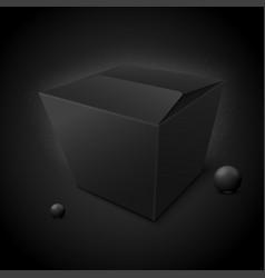 3d luxury dark box pack isolated on black vector