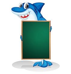 A shark holding an empty board vector