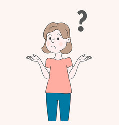 a woman is shrugging thinking confused with a vector image