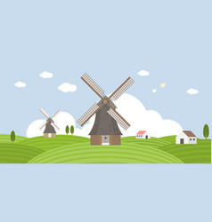 agriculture and farming wind mill vector image