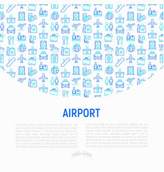 airport concept with thin line icons vector image