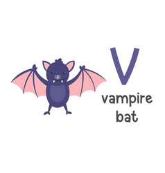 alphabet letter v and vampire bat vector image