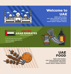 arab emirates uae travel tourism landmarks vector image