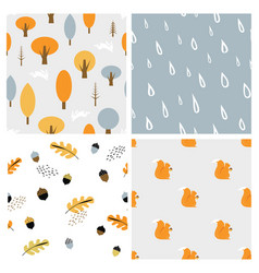 Autumn seasonal seamless retro style pattern set vector