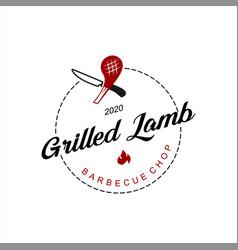 bbq logo simple lamb ribs grill vector image