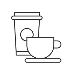 beverage of coffee and tea cup food outline icon vector image
