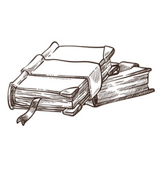 Books with antique covers and bookmarks monochrome vector