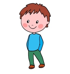 Boy stands and holds hands in pockets vector